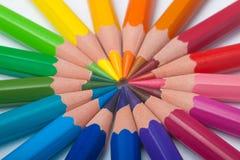 Pencils arrange in color wheel. Pencils in arrange in color wheel  on white background Royalty Free Stock Image