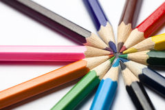 Pencils arranged in circle Royalty Free Stock Photo