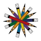 7-pencils-arranged-in-a-circle Immagine Stock