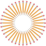 Pencils arranged in a circle. Isolated pencils arranged in a circle with copy space from white background royalty free illustration