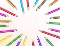 Pencils are arranged in a circle. Vector illustration stock illustration