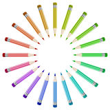 Pencils background. Colorful pencils background arranged in a circle Royalty Free Stock Photography