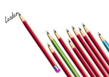Pencils background and leadership concept in business ,Vector illustration Stock Photos