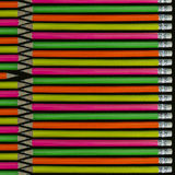 Pencils background. Row of neon colored pencils Royalty Free Stock Photos