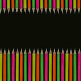 Pencils background. Row of neon colored pencils Stock Photo