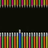Pencils background. Row of neon colored pencils Stock Images