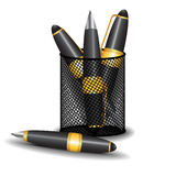 Pencils in a basket Stock Images