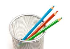 Pencils in basket Stock Photography