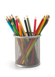 Pencils in basket Stock Photo