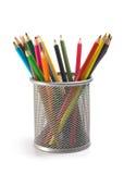 Pencils in basket Stock Photo
