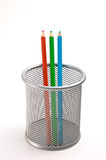 Pencils in basket Stock Image