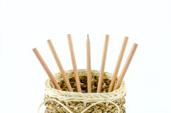 Pencils in a basket Royalty Free Stock Images