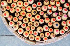 Pencils in basket pencil holder. Top view. Royalty Free Stock Photo
