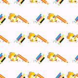 Pencils and a bird. seamless pattern Royalty Free Stock Images
