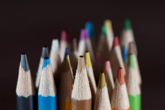 Pencils on black Stock Photo