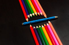 pencils on black board Stock Photos