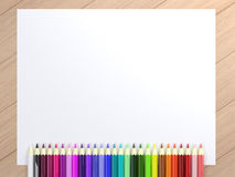 Pencils on blank  White. Colorful pencils on blank  White Paper Stock Photos
