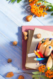 Pencils books concept back school autumn fruit Stock Image