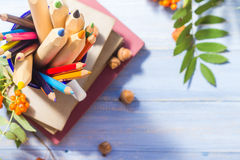 Pencils books concept back school autumn fruit Royalty Free Stock Photography