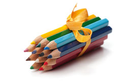 Pencils bound together with ribbon Royalty Free Stock Images