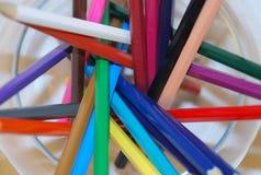 Pencils in bowl. Multi colored pencils in bowl stock image