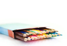 Pencils in a box Royalty Free Stock Images