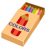 Pencils on box Stock Images