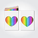 12 pencils box. Blank box of 12 colored pencils with clipped heart shape. Realistic vector illustration vector illustration