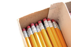 Pencils in Box With Erasers for Work or Business Stock Photography