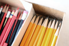 Pencils in Box With Erasers for Work or Business Royalty Free Stock Photography