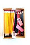 Pencils in Box With Erasers for Work or Business Royalty Free Stock Photos