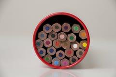 Pencils in a box Stock Photos