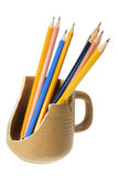 Pencils in Broken Mug Stock Images