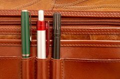 Pencils. In a brown attache case royalty free stock image