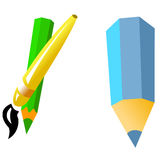 Pencils and brush. On the white Royalty Free Stock Images