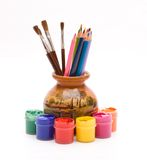 Pencils and brushes in vase Royalty Free Stock Photo
