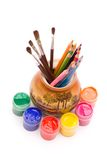 Pencils and brushes in vase Royalty Free Stock Images