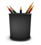 Pencils in bucket Stock Images