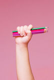 Pencils Bunch in a Hand Royalty Free Stock Photography