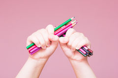 Pencils Bunch in a Hand Stock Photo