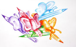 Pencils and butterflies. Hand drawn picture of pencils and butterflies. Theme for school children Royalty Free Stock Photography