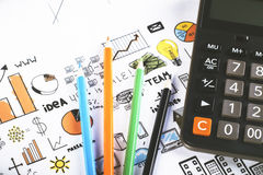Pencils with calculator Stock Image