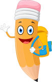 Pencils cartoon with school bag Royalty Free Stock Photos