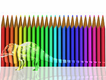 Pencils and Chameleon. An illustrated background of a chameleon camouflaged on colorful pencils Stock Photos