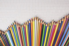 Pencils Chart. Several colored pencils lined up forming a graph Stock Photo
