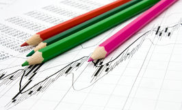 Pencils and chart background Stock Image