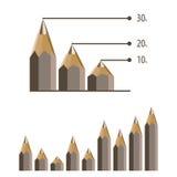Pencils chart column. Vector chart. Pencils chart column. Chart Stock Photo