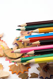 Pencils and chips Royalty Free Stock Photo