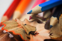 Pencils and chips Royalty Free Stock Photos