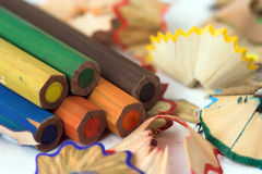 Pencils and chips Stock Image